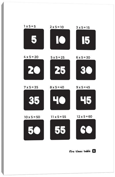 Black And White Times Tables - 5 Canvas Art Print