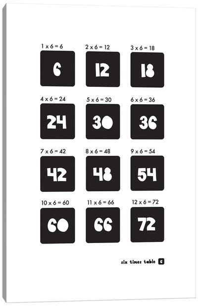 Black And White Times Tables - 6 Canvas Art Print