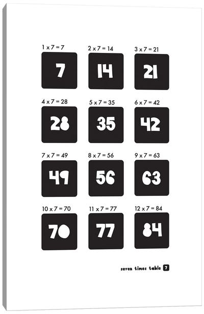 Black And White Times Tables - 7 Canvas Art Print