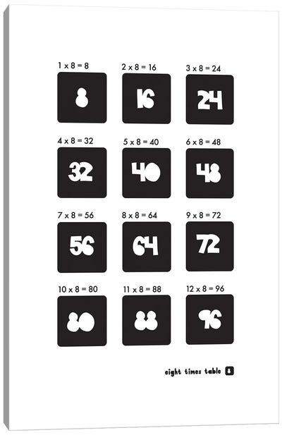 Black And White Times Tables - 8 Canvas Art Print