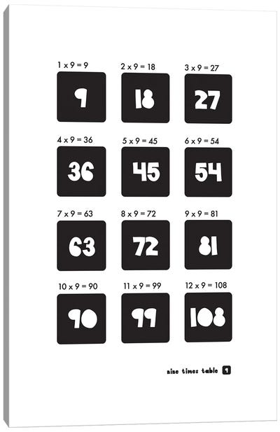 Black And White Times Tables - 9 Canvas Art Print