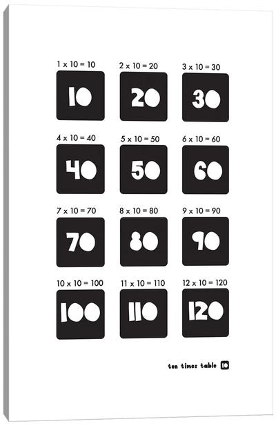 Black And White Times Tables - 10 Canvas Art Print