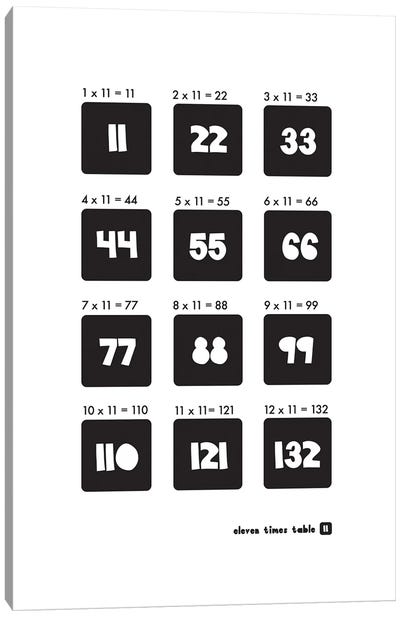 Black And White Times Tables - 11 Canvas Art Print
