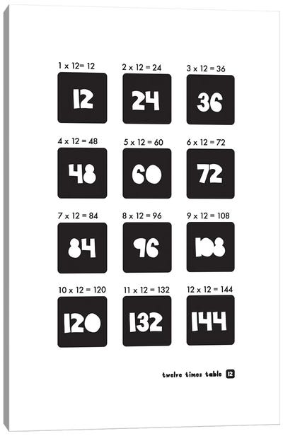 Black And White Times Tables - 12 Canvas Art Print