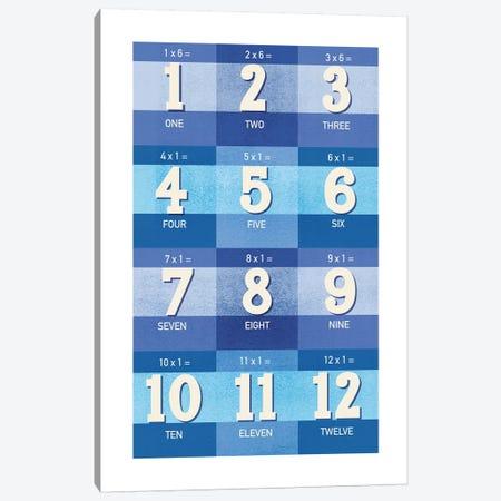 Blue Times Tables - 1 Canvas Print #PPX306} by PaperPaintPixels Canvas Art
