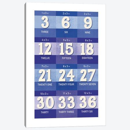 Blue Times Tables - 3 Canvas Print #PPX308} by PaperPaintPixels Art Print
