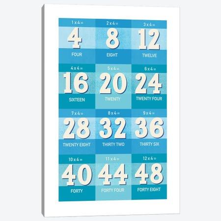 Blue Times Tables - 4 Canvas Print #PPX309} by PaperPaintPixels Canvas Art Print