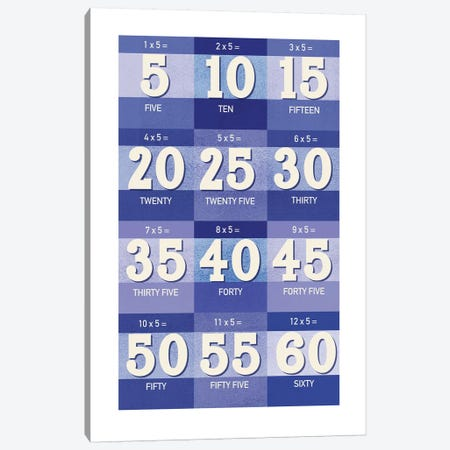 Blue Times Tables - 5 3-Piece Canvas #PPX310} by PaperPaintPixels Canvas Art