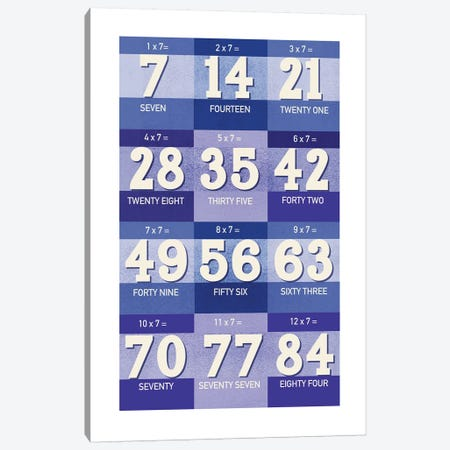 Blue Times Tables - 7 Canvas Print #PPX312} by PaperPaintPixels Canvas Wall Art