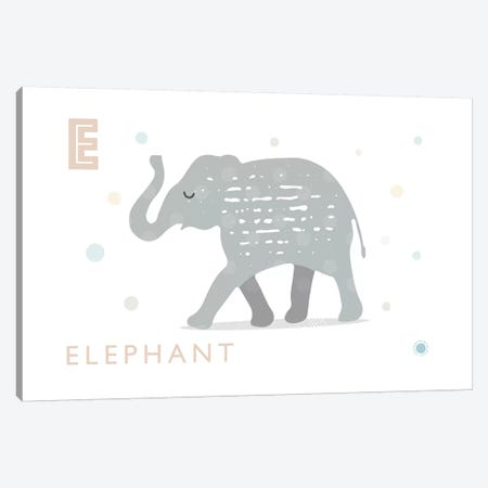 E Is For Elephant Canvas Print #PPX31} by PaperPaintPixels Canvas Art Print