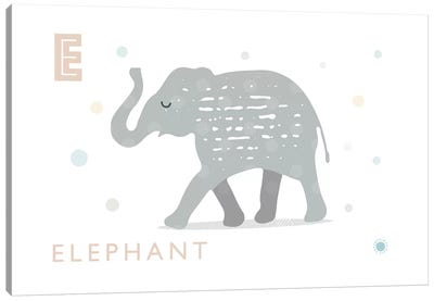 E Is For Elephant Canvas Art Print