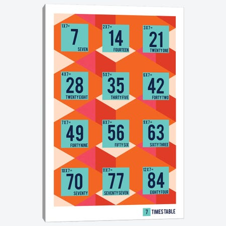 Isometric Times Tables - 7 Canvas Print #PPX324} by PaperPaintPixels Canvas Art