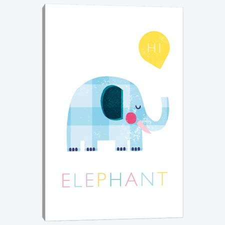 Elephant Canvas Print #PPX32} by PaperPaintPixels Canvas Art Print
