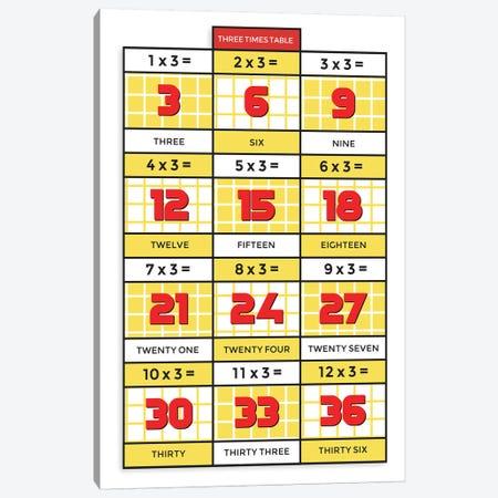Retro Times Tables - 3 Canvas Print #PPX332} by PaperPaintPixels Canvas Artwork