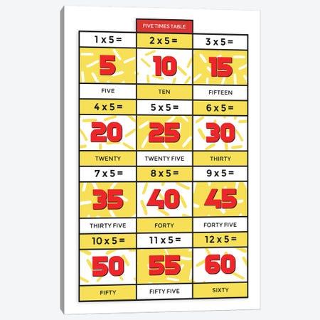 Retro Times Tables - 5 Canvas Print #PPX334} by PaperPaintPixels Canvas Art Print