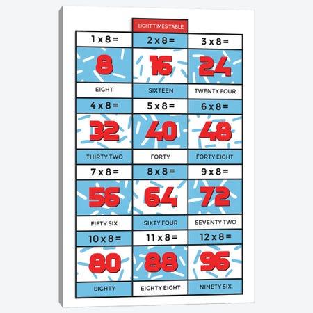 Retro Times Tables - 8 Canvas Print #PPX337} by PaperPaintPixels Art Print