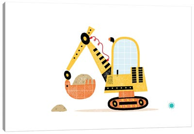 Excavator Canvas Art Print