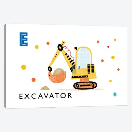 E Is For Excavator Canvas Print #PPX34} by PaperPaintPixels Canvas Wall Art