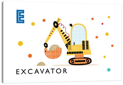 E Is For Excavator Canvas Art Print
