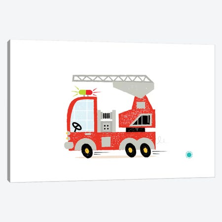 Fire Engine Canvas Print #PPX35} by PaperPaintPixels Canvas Artwork