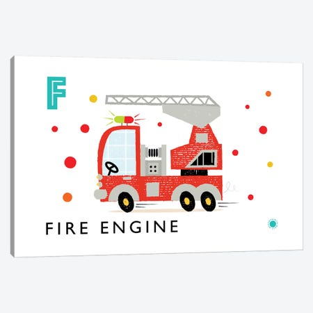 F Is For Fire Engine Canvas Print #PPX36} by PaperPaintPixels Canvas Artwork