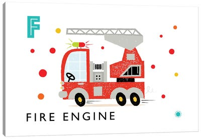 F Is For Fire Engine Canvas Art Print