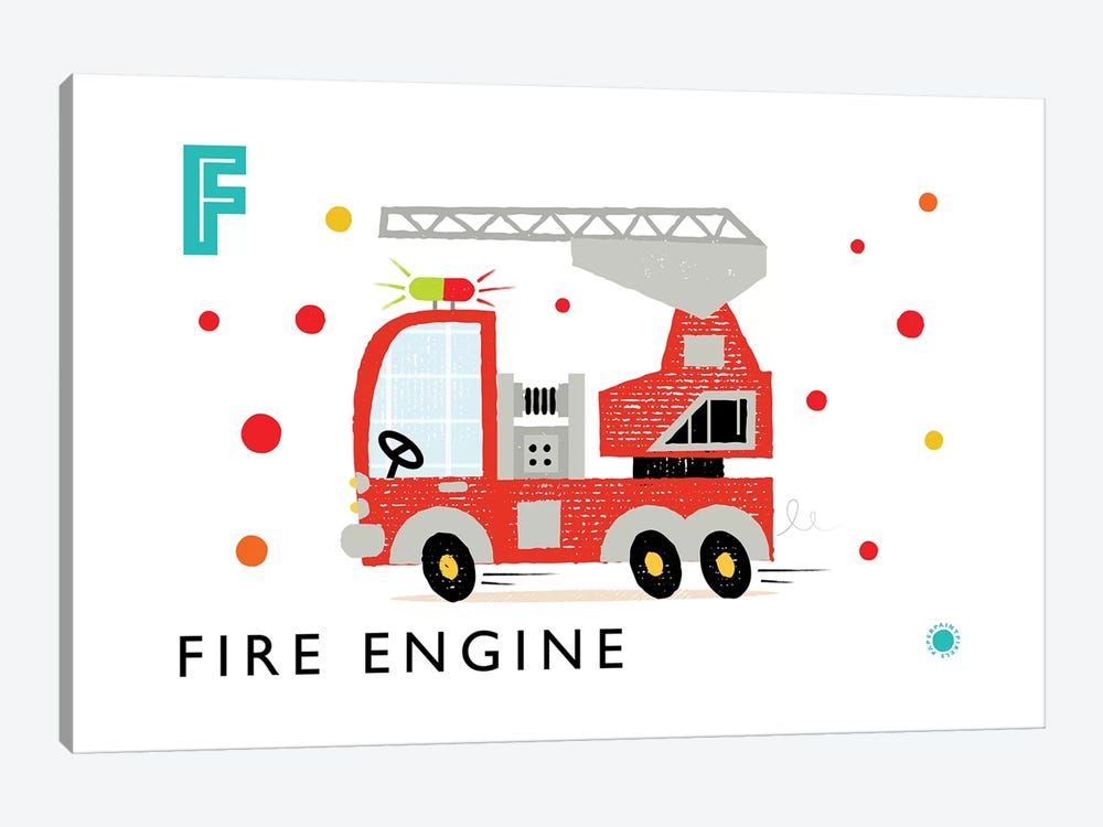 F Is For Fire Engine by PaperPaintPixels 1-piece Art Print
