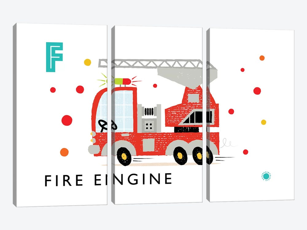 F Is For Fire Engine by PaperPaintPixels 3-piece Canvas Print