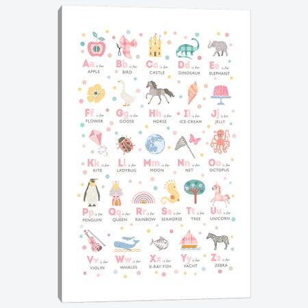 Girls Illustrated Alphabet Canvas Print #PPX39} by PaperPaintPixels Canvas Print
