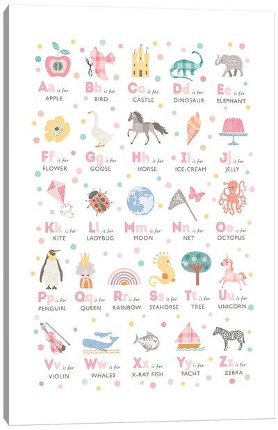 Girls Illustrated Alphabet Canvas Art Print