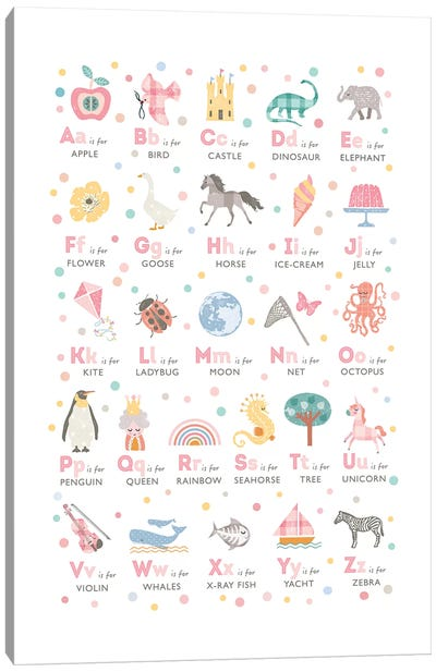 Girls Illustrated Alphabet Canvas Art Print