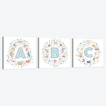 A-B-C Blue Canvas Print Set #PPX3HSET002} by PaperPaintPixels Canvas Print