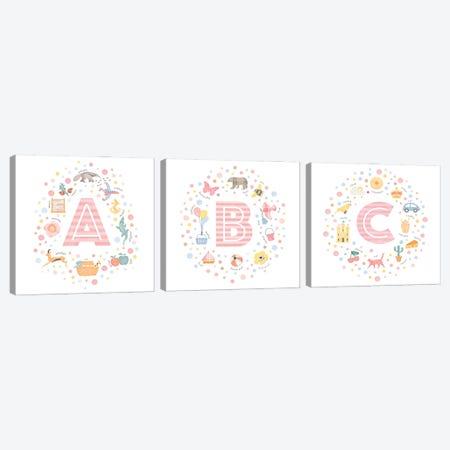 A-B-C Pink Canvas Print Set #PPX3HSET003} by PaperPaintPixels Art Print