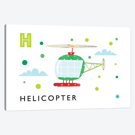 H Is Forhelicopter Canvas Print #PPX44} by PaperPaintPixels Canvas Art Print