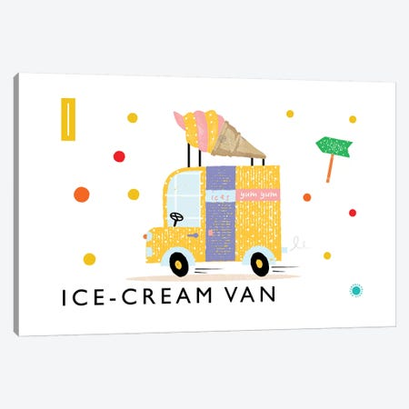 I Is For Ice Cream Van Canvas Print #PPX47} by PaperPaintPixels Art Print