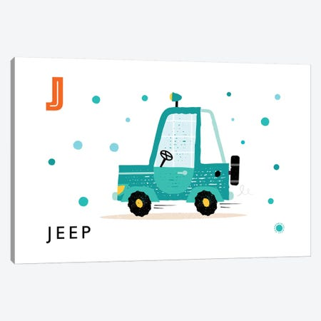 J Is For Jeep Canvas Print #PPX54} by PaperPaintPixels Canvas Artwork