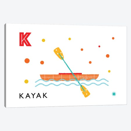 K Is For Kayak Canvas Print #PPX56} by PaperPaintPixels Canvas Artwork