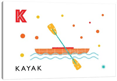 K Is For Kayak Canvas Art Print