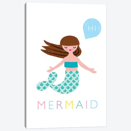 Mermaid Canvas Print #PPX62} by PaperPaintPixels Canvas Art