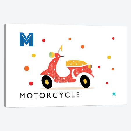 M Is For Motorcycle Canvas Print #PPX65} by PaperPaintPixels Canvas Print