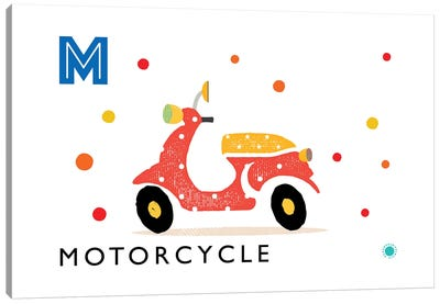 M Is For Motorcycle Canvas Art Print