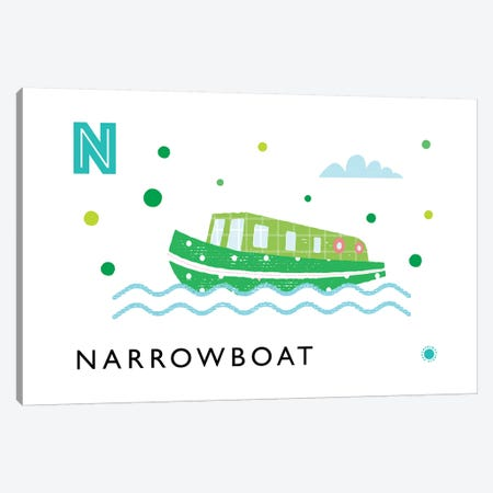 N Is For Narrowboat Canvas Print #PPX67} by PaperPaintPixels Canvas Print