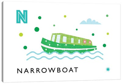N Is For Narrowboat Canvas Art Print