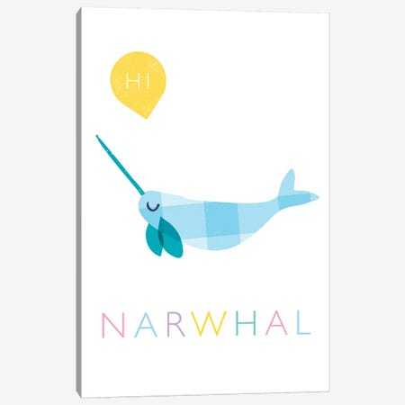 Narwhal Canvas Print #PPX68} by PaperPaintPixels Canvas Art