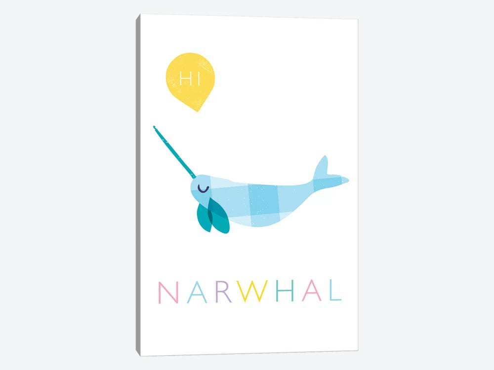 Narwhal by PaperPaintPixels 1-piece Canvas Artwork
