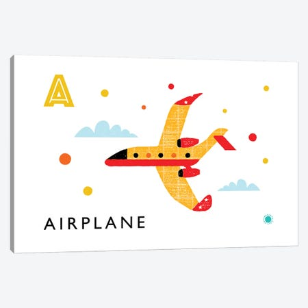 A Is For Airplane Canvas Print #PPX6} by PaperPaintPixels Canvas Wall Art