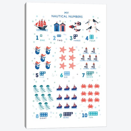Nautical Numbers Canvas Print #PPX71} by PaperPaintPixels Canvas Print