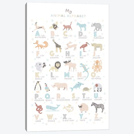 Neutral Animal Alphabet Canvas Print #PPX72} by PaperPaintPixels Canvas Art Print