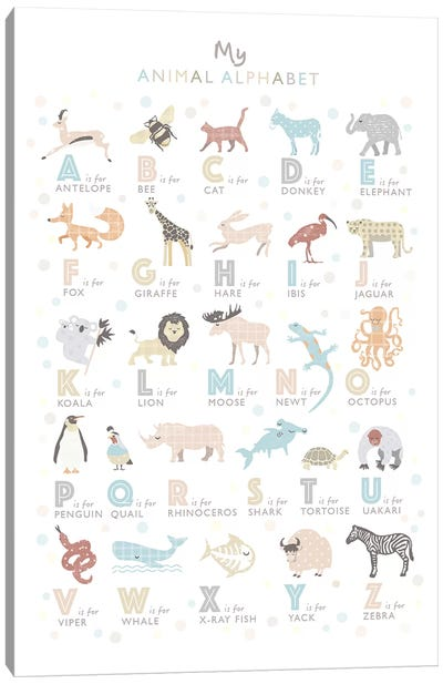 Neutral Animal Alphabet Canvas Art Print