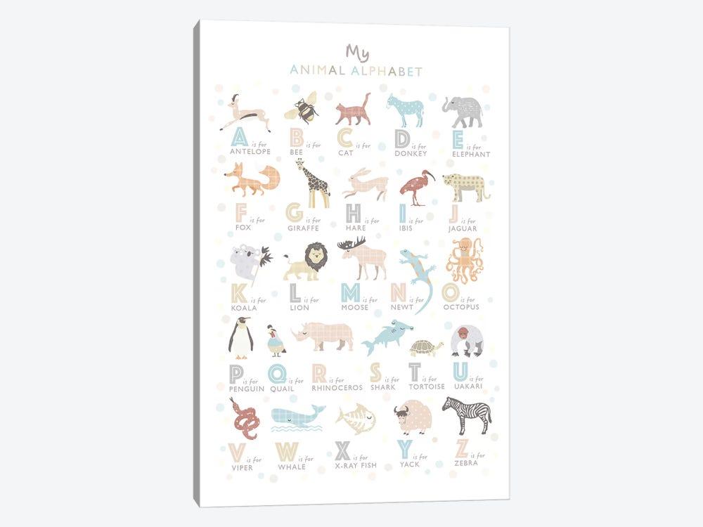 Neutral Animal Alphabet by PaperPaintPixels 1-piece Canvas Art Print